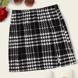 Shein Textured Plaid Mini Skirt w/ Slit Hem